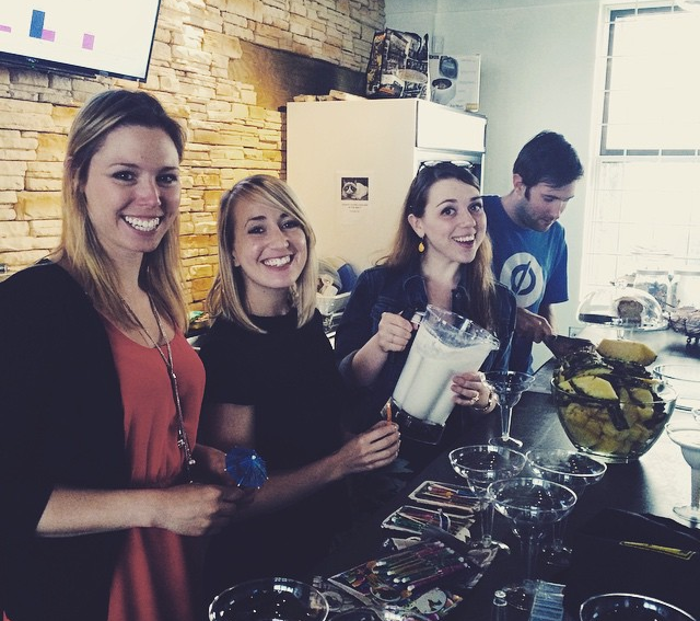 Part of our marketing team mixing up some pina coladas