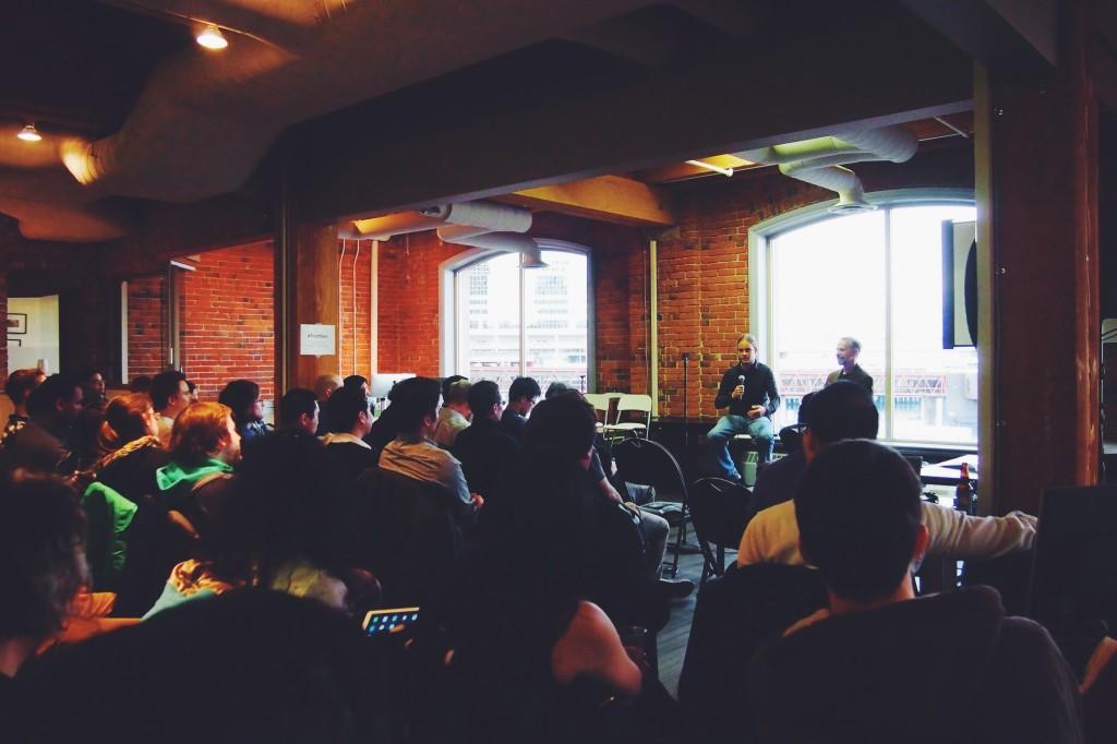 Carl Schmidt, Unbounce facilitating a Q&A with Google's Chris Evans